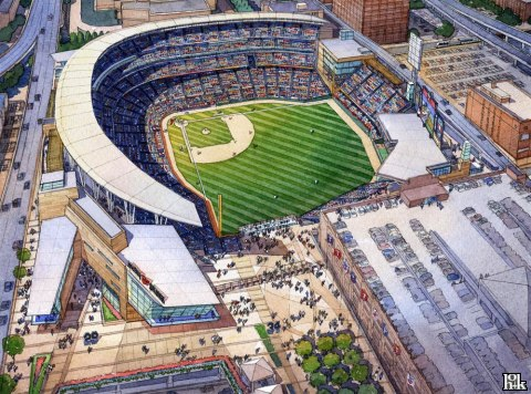 Aerial view of proposed Twins ballpark